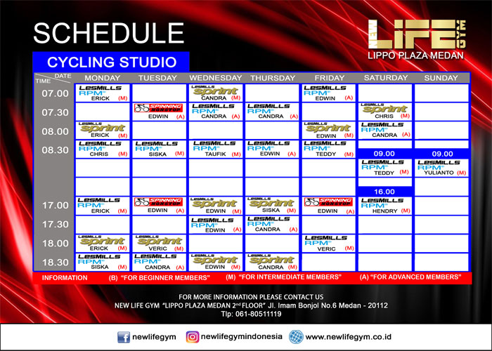 Jadwal Cycling Studio New Life Gym