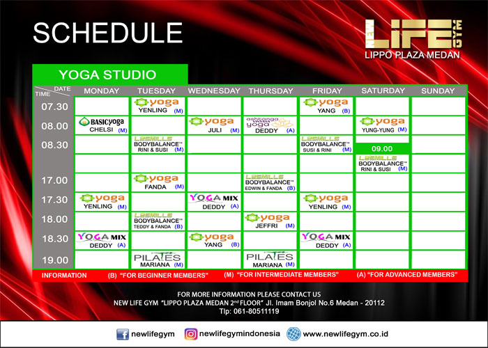 Jadwal Yoga Studio New Life Gym